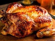 Пълнено пиле по турски с ориз и булгур печено на фурна